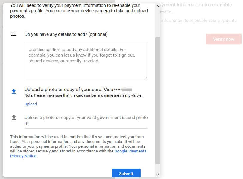 Google Pay: Verify your payment information