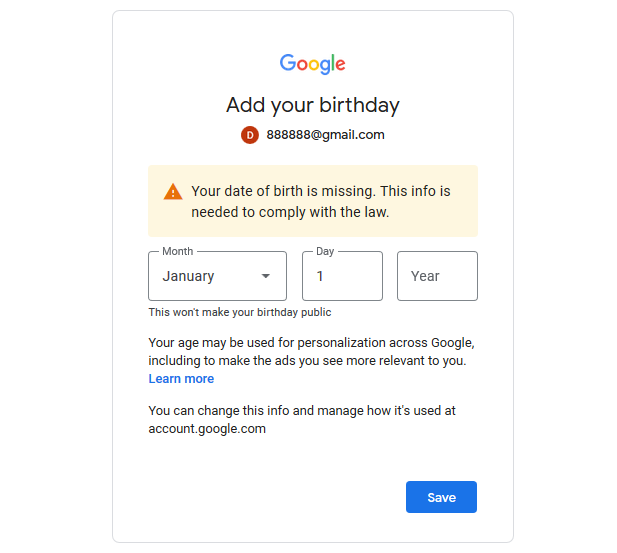 登陆Google账号提示:Add your birthday. Your date of birth is missing.-谷姐靓号网