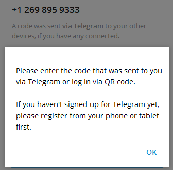 Telegram/电报/纸飞机官方2.7.4版本客户端: please register from your phone or tablet first